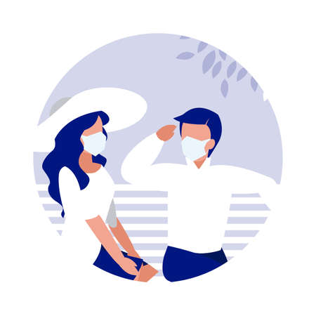 Woman and man with mask on bench at park design of Covid 19 virus theme Vector illustration