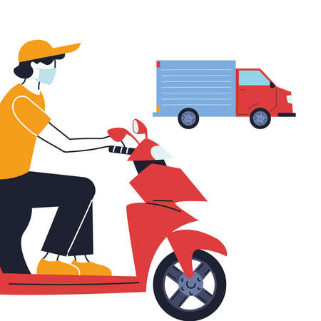 courier with mask and transport vehicle for delivery vector illustration desing