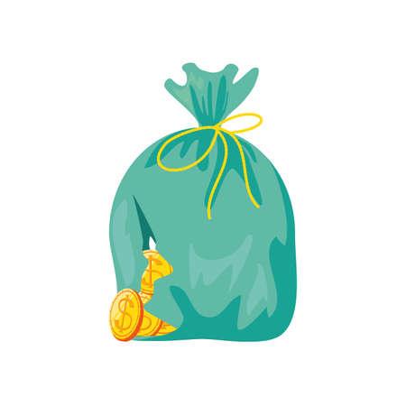 sack of broken coins on white background vector illustration design