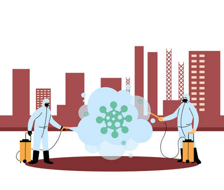 Men wearing protective suits and isolated disinfectant to avoid covid 19, disinfecting the city vector illustration design