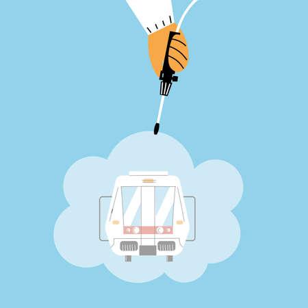 service metro disinfection by coronavirus or covid 19 vector illustration design Illustration