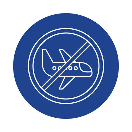passenger air plane with prohibition sign, line block style icon vector illustration design
