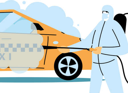 Man wearing protective suit and disinfectant isolated to avoid covid 19, disinfecting taxi vector illustration design