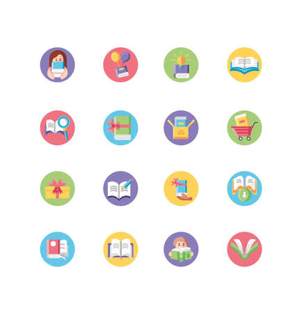people reading and books icon set over white background, block style, vector illustration