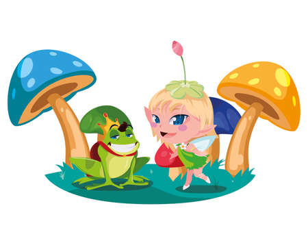 beautiful magic fairy with toad prince in the garden vector illustration design Иллюстрация
