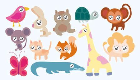 Conjunto de animales en estilo kawaii, diseño de ilustraciones vectoriales Ilustración de vector