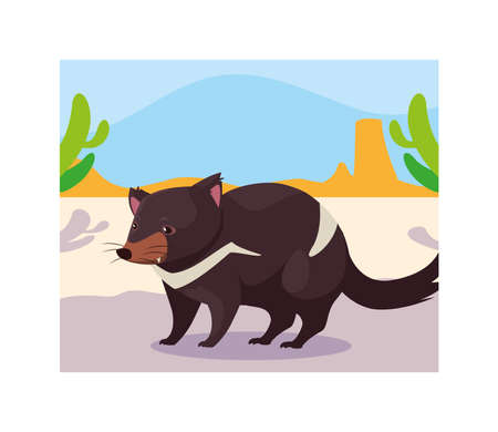 card with tasmanian devil in australian landscape vector illustration design Ilustração