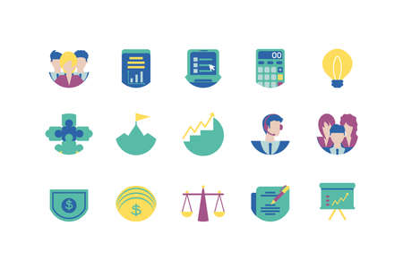 Icon set design, Strategy management business workforce financial corporate investment success and technology theme Vector illustration Vektorgrafik