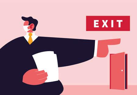 big boss pointing on the door, unemployment by coronavirus vector illustration design Иллюстрация