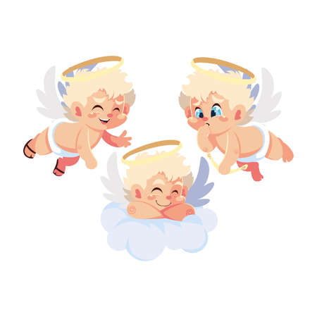 cute cupid angels in different poses on white background vector illustration design Illustration