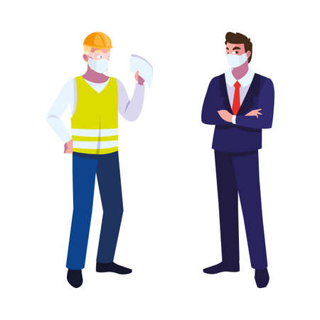 male operator and executive with mask vector illustration design Stock Illustratie