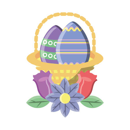 Easter eggs in basket on white background vector illustration design