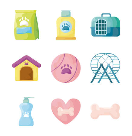 set of icons with pet accessories on white background vector illustration design