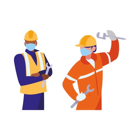 industrial workers men working with face mask vector illustration design Çizim