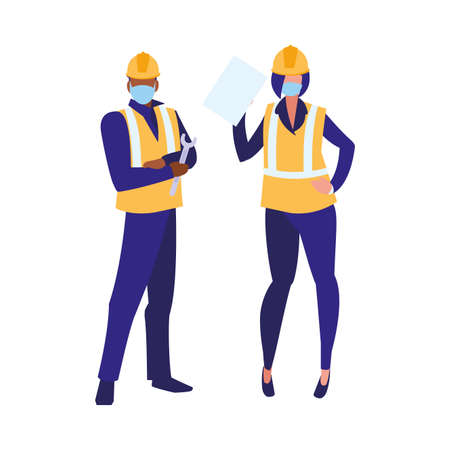 Industrial workers couple working with face mask vector illustration design Çizim
