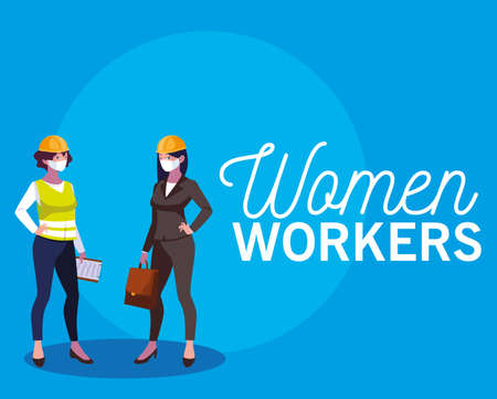 Architect and builder woman with mask and helmet design, Women workers occupation and job theme Vector illustration