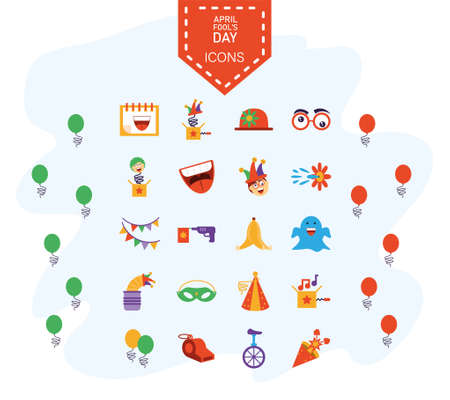 april fools day icons set over white background, colorful and flat style design, vector illustration Ilustração