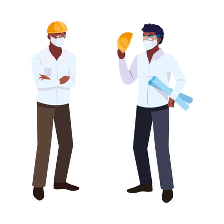 male operator and executive with mask vector illustration design Çizim