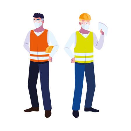 men operators with masks and reflective vests vector illustration design