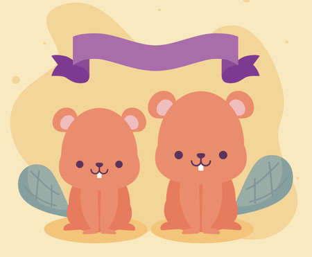 Cute beavers cartoons design, Animals zoo life nature character childhood and adorable theme Vector illustration