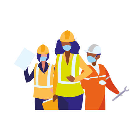 Industrial workers working with face mask vector illustration design Çizim
