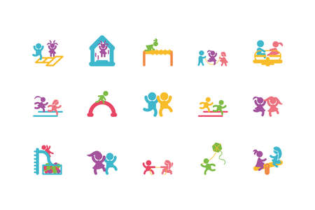 Set of boys and girls avatars design, Kid childhood little people lifestyle casual person cheerful and cute theme Vector illustration