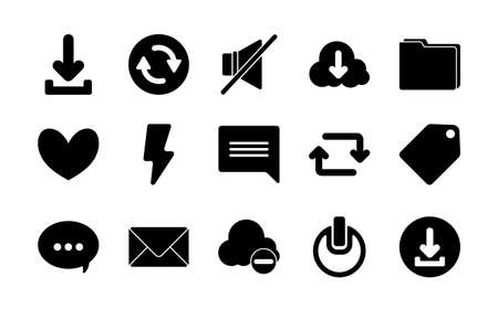 silhouette style icon set design, Social media web multimedia and communication theme Vector illustration Vectores