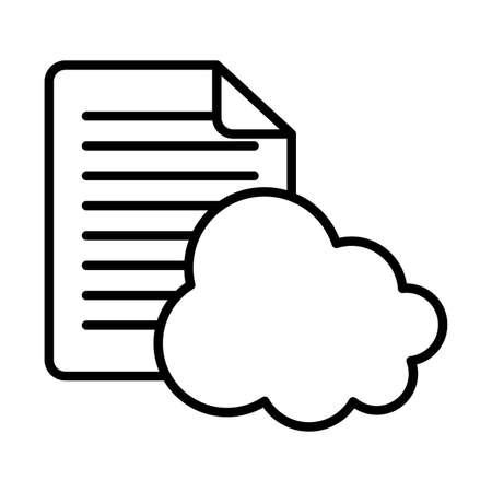 Cloud computing and document paper line style icon design, Communication internet and connectivity theme Vector illustration