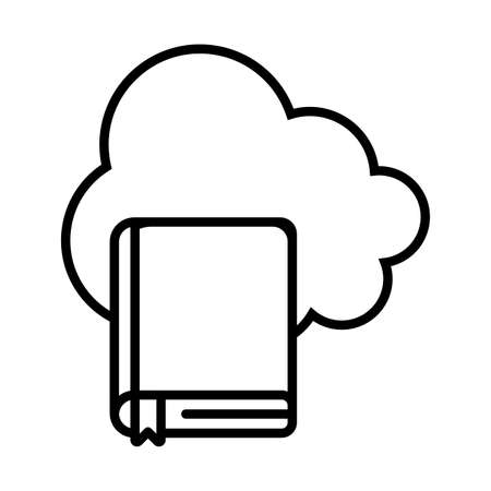 Cloud computing and ebook line style icon design, Education online and elearning theme Vector illustration Vectores