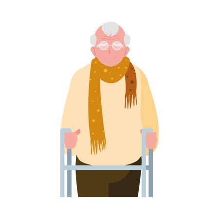 elderly man wearing stylish clothes vector illustration design