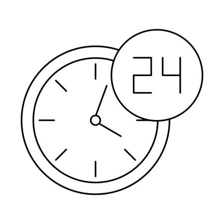 wall clock with symbol open around the clock, line style icon vector illustration design