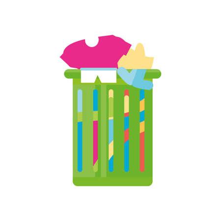 clothes laundry basket on white background vector illustration design