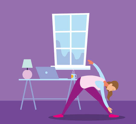 woman doing stretching exercises in living room vector illustration design Vectores