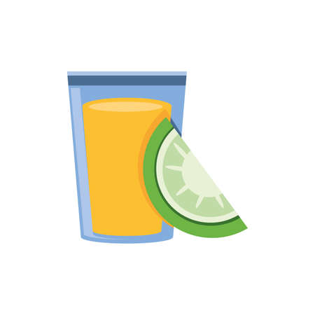 tequila , traditional Mexican drink in white background vector illustration design Ilustração