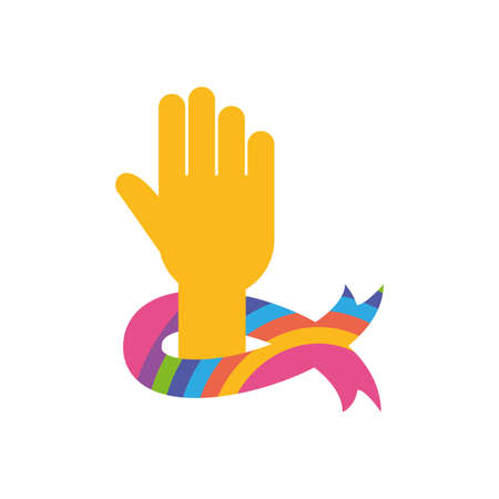 Hand with ribbon of zero discrimination day, flat style icon vector illustration design