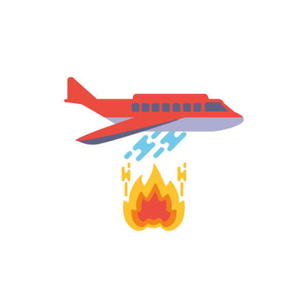 Airplane putting out fire design, Emergency rescue save department 911 danger help safety and aid theme Vector illustration