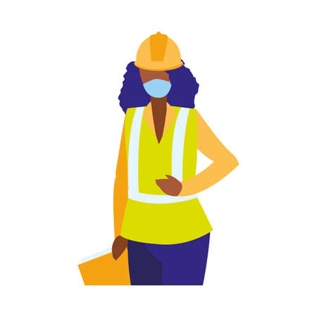 industrial worker woman working with face mask vector illustration design
