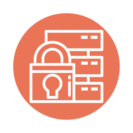 padlock with database, block and flat style icon vector illustration design