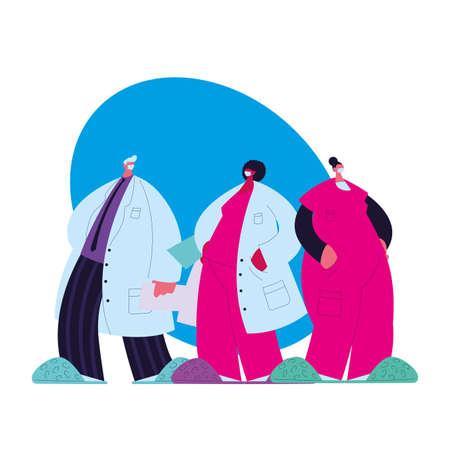 doctors with masks and medical uniforms vector illustration design Ilustración de vector