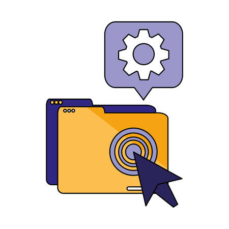 File and gear design, Document data archive storage organize business office and information theme Vector illustration Vectores