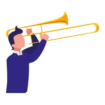 musician playing trumpet character vector illustration design Çizim