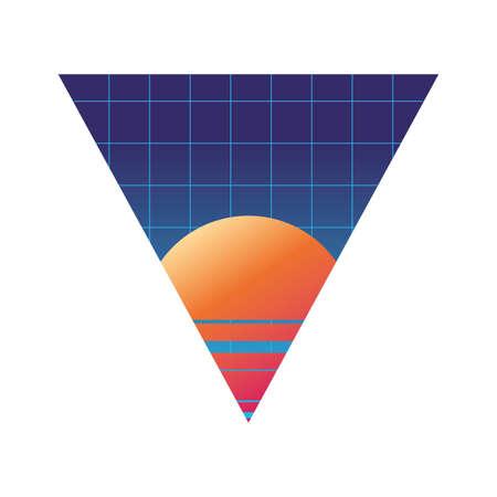 geometric abstract landscape desert sun vector illustration