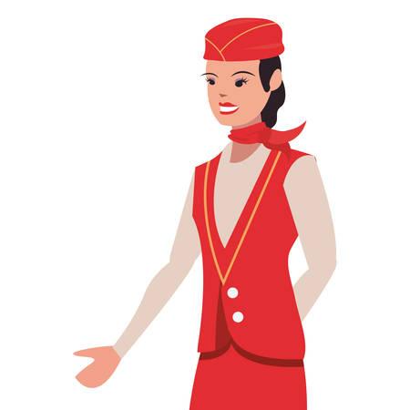 flight attendant profession labour day vector illustration design
