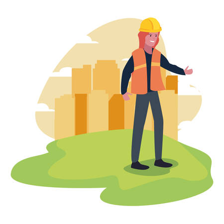 female builder professional labour day vector illustration Çizim