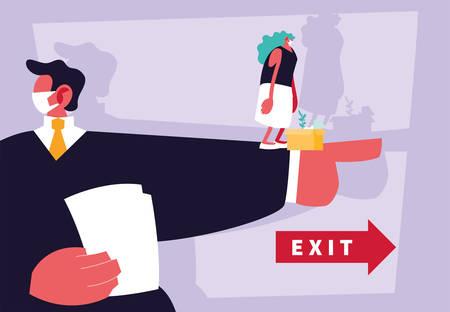 businessman boss dismisses employee, unemployment vector illustration design Illusztráció
