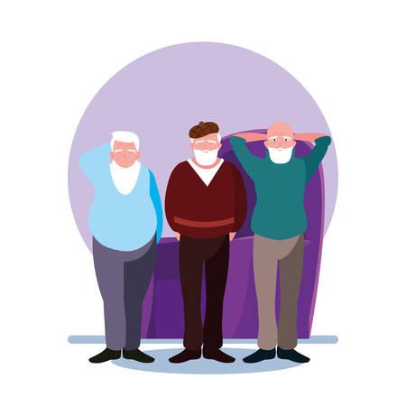 happy elderly men sharing at home vector illustration design