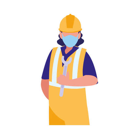 industrial worker man working with face mask vector illustration design Çizim