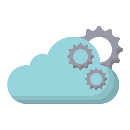 cloud with gears wheels icon over white background, vector illustration