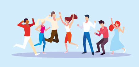 group of people with different poses vector illustration design Stock Illustratie