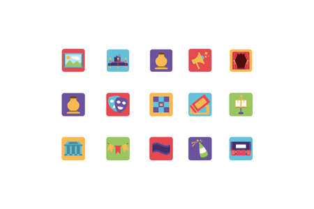 set of icons of entertainment on white background vector illustration design Stockfoto - 149404442